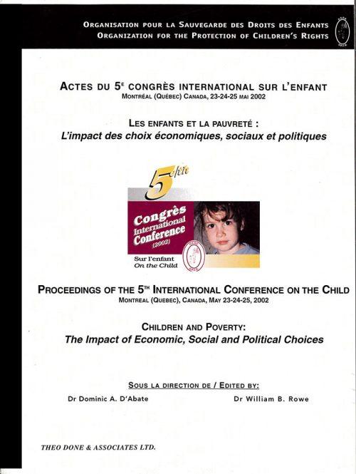 5e Congrès International – Les enfants et la pauvreté: l'impact des choix économiques, sociaux et politiques