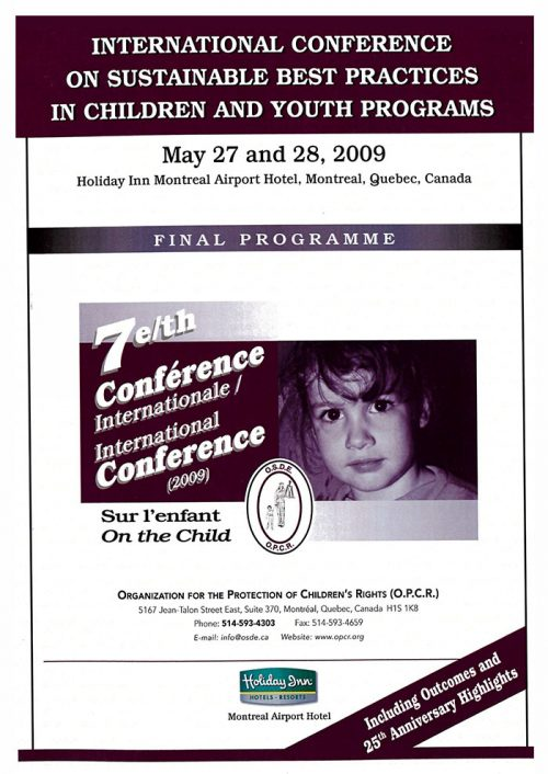 7th International Conference – sustainable best practices in children and youth programs